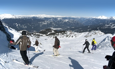 Coast Mountains at Whistler with skiers