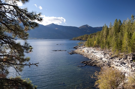 Kootenay Lake and mountains, British Columbia photo