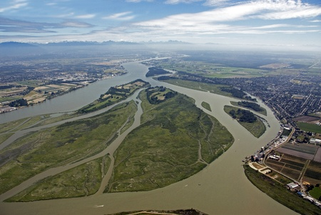 Fraser River and its islands in the Fraser Valley Stock Photo - 11970679