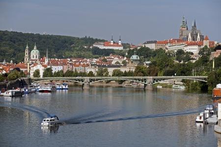Prague panorama with Vltava River Editorial
