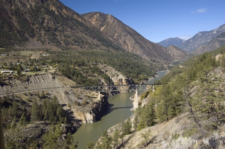 fraser river: Fraser River Canyon and Lillooet Stock Photo