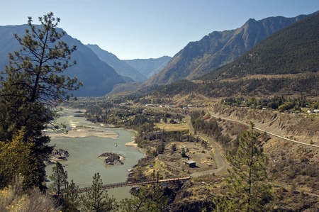 Fraser River Canyon and Lillooet Stock Photo