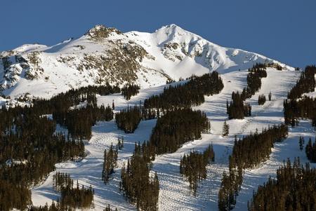 skying: Coast mountain and Whistler Peak in winter Stock Photo