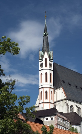 Church in Gothic style in Cesky Krumlov, Czech Republic