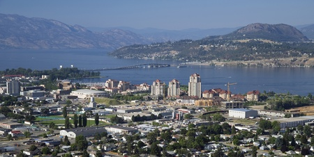 Kelowna with new bridge Stock Photo