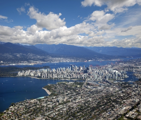 Vancouver - panoramic view with downtown and Coast Mountains photo