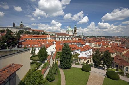 Prague, Vrtbovska Garden and skyline with St. Vitus and St. Nicholas Banco de Imagens