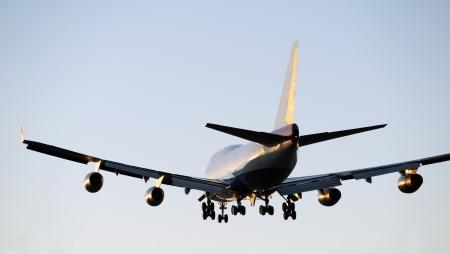 boeing 747: Aerei Boeing 747 atterraggio a Vancouver Archivio Fotografico