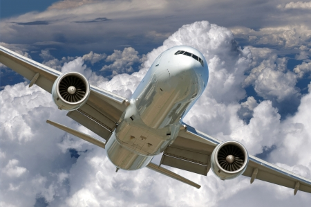 airplane take off: Two jet engine aircraft in the cloudy sky