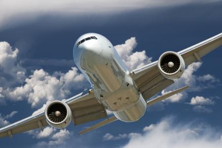 Deux avions de moteur de jet avant l'atterrissage Banque d'images - 15750837