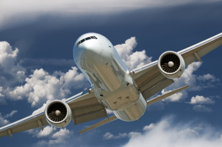 Two jet engine aircraft before landing Stock Photo
