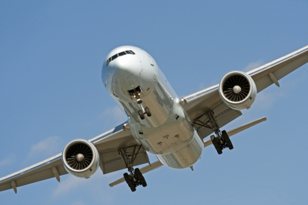 airplane take off: Two jet engine aircraft before landing Stock Photo