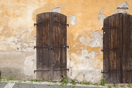 Historic wooden door in Prague photo