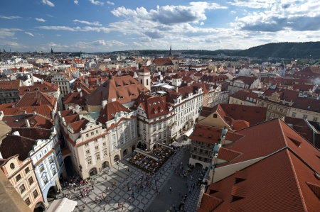 Prague - Panorama and Old Town Stock Photo