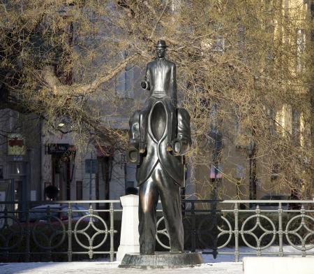 Prague Franz Kafka sculpture par Synagogue espagnole Banque d'images - 15828774