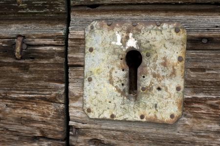 slot met sleuteltje: Deur achter slot en grendel gat Stockfoto