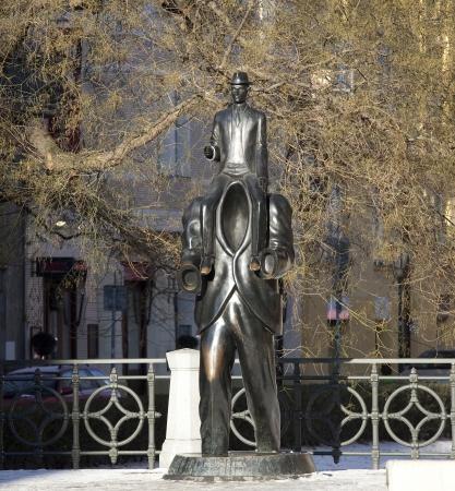 franz: Franz Kafka sculpture in Josefov Quarter in Prague