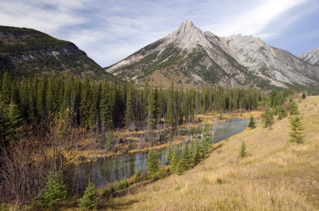 Rocky Mountains, Kananaskis Country with Mist Mountains Stock Photo - 16209634