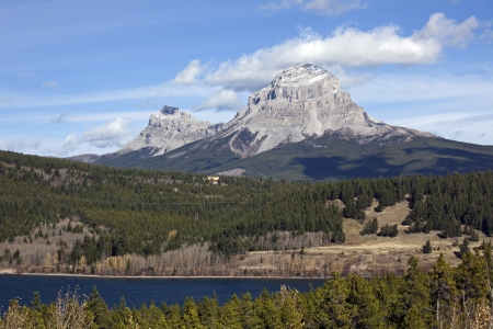 Seven Sisters Mt, Crowsness Mt and Crowsnest Lake, Alberta, Canada Stock Photo - 16209643