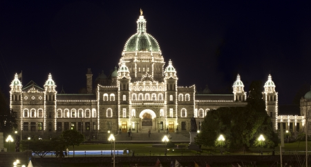 Victoria - Parliament Building at night