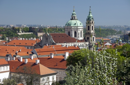 st  nicholas cathedral: Prague - Panoramic with St  Nicholas cathedral and Lesser Town Stock Photo