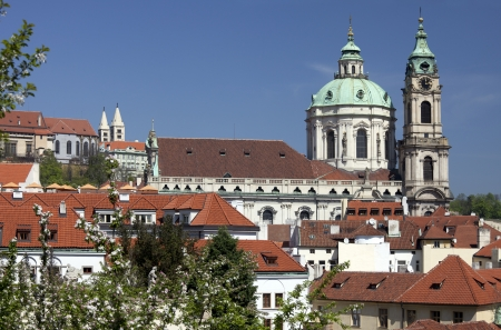 Prague - Panoramic with St  Nicholas cathedral and Lesser Town Redakční