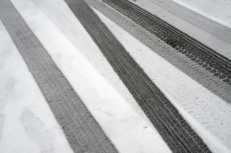 tire marks: Winter tire marks in the snow