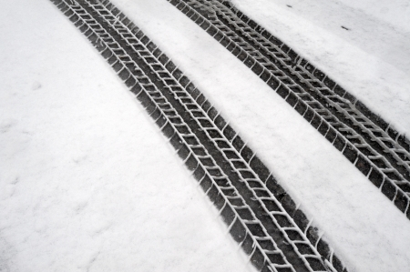 traction: Winter tire marks in the snow