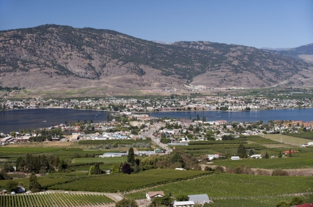 Osoyoos and Osoyoos Lake in the summer Фото со стока