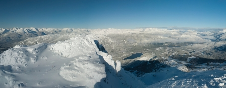 Coast Mountains, panoramic view from Whistler Peak, Canada Stock Photo - 17680646