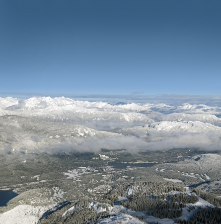 Panoramic view of Whistler Village and Coast Mountains with Mt  Callaghan in winter Stock Photo - 17860657