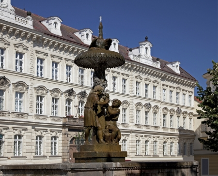 fontaine: Historic Wimmer Fontaine in Prague and School building