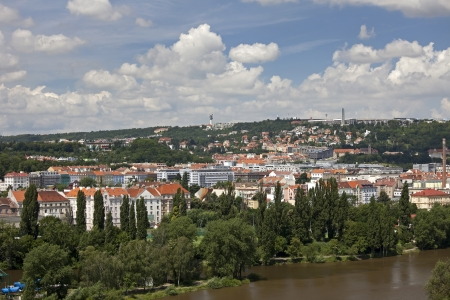 Prague - Smichov and Strahov quarters, Vltava River and island Stock Photo