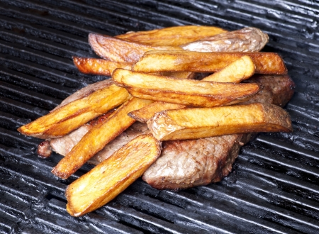 frites: Steak and French Frites - homemade baked on the grill