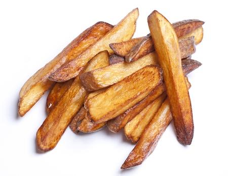 frites: French Frites - homemade baked, fried potatoes Stock Photo