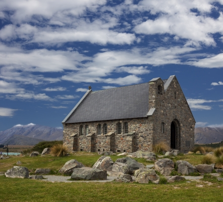 New Zealand - The Church of the Good Shepherd and Lake Tekapo,  South Island photo