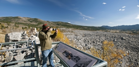 tonnes: FRANK SLIDE - OCT. 12: Mining town of Frank was buried by 82 mil. tonnes of limestone, slid down Turtle Mountain, killing over 80, early morning on April 29, 1903. October 12, 2010, Alberta, Canada Editorial