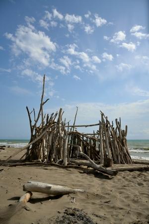 Hut on the beach in Tuscany, Italy