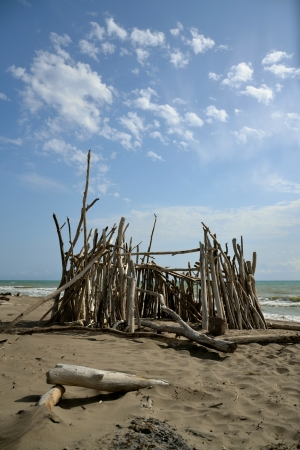 Hut on the beach in Tuscany, Italy