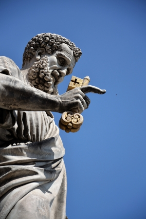 keys to heaven: Statue of St  Peter in the Vatican City, Rome, Italy
