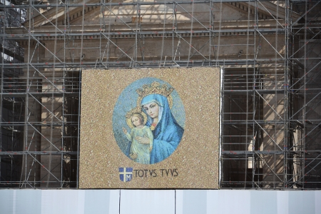 Mary with Jesus at Saint Peters Square in Vatican, Italy with latin phrase meaning �totally yours�  Editorial