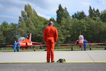 Ostrava, Czech republic - September 22, 2012 - Red Arrows RAF aerobatic display jet during airshow session NATO Days. Stock Photo - 15370304