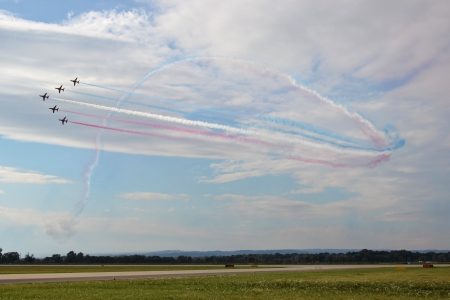 Ostrava, Czech republic - September 22, 2012 - Red Arrows RAF aerobatic display jet during airshow session NATO Days. Stock Photo - 15371558