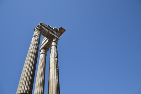 Ionic Columns in the centre of Rome, Italy.