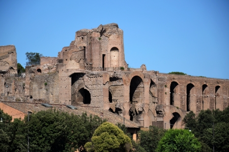 augustus: Ruins of the Domus Augustana on Palatine Hill. Stock Photo