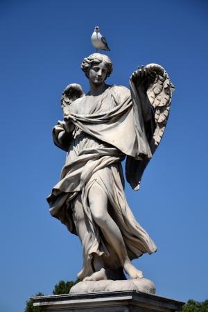 bernini: Angel with the Sudarium on the Sant Angelo bridge in Rome. Stock Photo