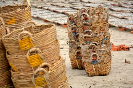 Baskets for anchovies on a beach in Vietnam