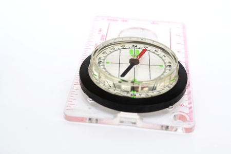 Detail shot of a glass compass on white background Stock Photo - 16750386