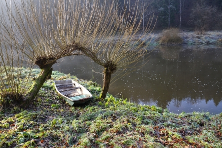 Boat under willow trees on the shore of Lu�nice river in Czech Republic  photo
