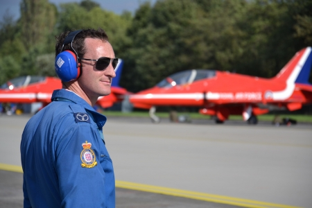 Ostrava, Czech republic – September 22, 2012: Red Arrows RAF aerobatic display jet during airshow session NATO Days in Ostrava, Czech republic. More than 208 000 visitors have come to Ostrava Airport during September 22 and 23, 2012.